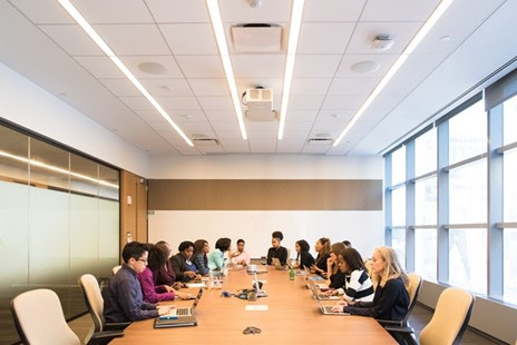 Employee meeting in a commercial building