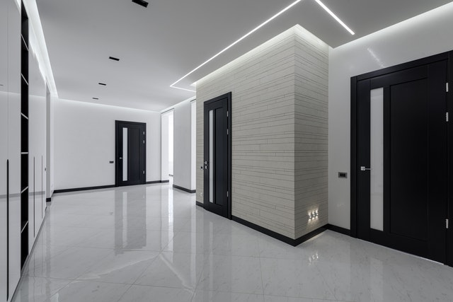 Shiny white floors in an apartment building